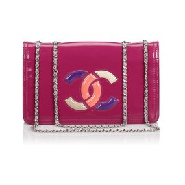 Chanel-Chanel Pink Patent Lipstick Flap Bag-Pink,Multiple colors