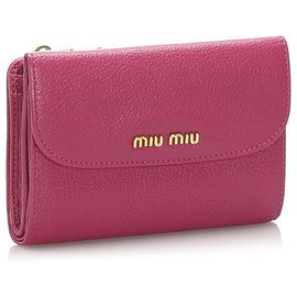 Miu Miu-Portefeuille compact en cuir rose Miu Miu-Rose