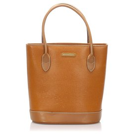 Burberry-Burberry Brown Leather Tote Bag-Brown
