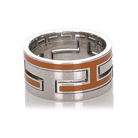 Hermès-Bague Hermes Silver Move H-Argenté,Orange