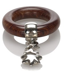 Hermès-Hermes Gold Wood Charm Scarf Ring-Brown,Golden