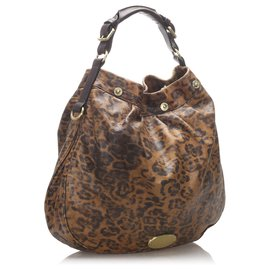 Mulberry-Mulberry Brown Leopard Print Leather Hobo Bag-Brown,Black,Dark brown