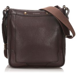 Burberry-Burberry Brown Leather Crossbody Bag-Brown,Dark brown