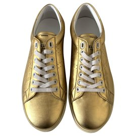 Céline-Golden leather Triomphe sneakers-Golden