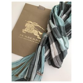 Burberry-Burberry Linen Check  Scarf-White,Blue,Grey