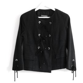 Chanel-Vintage Chanel Resort 07 Eyelet & Rope Black Cotton Tweed Jacket-Black