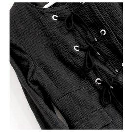 Chanel-Vintage Chanel Resort 07 Veste en tweed de coton noir Eyelet & Rope-Noir