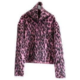 Céline-Celine x Phoebe Philo AW14 Pull à col cheminée en mohair mélangé léopard rose-Rose