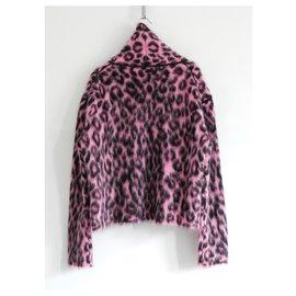 Céline-Celine x Phoebe Philo AW14 Pink Leopard Mohair Mix Funnel Neck Jumper-Pink