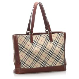Burberry-Burberry Brown Nova Check Canvas Tote Bag-Brown,Red,Beige