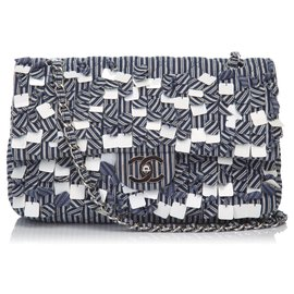 Chanel-Chanel Blue Fringe Cotton Flap Shoulder Bag-White,Blue,Navy blue