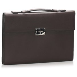 Loewe-Sac d'affaires en cuir marron Loewe-Marron,Marron foncé
