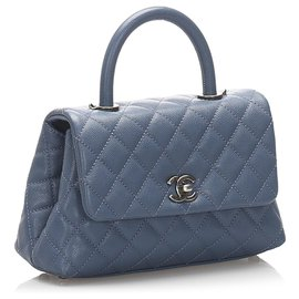 Chanel-Chanel Blue Coco Caviar Leather Satchel-Blue,Light blue