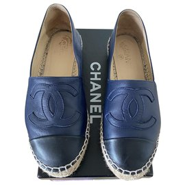 Chanel-Espadrilles-Black,Navy blue