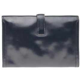 Hermès-Very beautiful Hermès Jige clutch in navy box leather-Navy blue