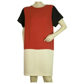 Céline-Celine Silk Red Ecaille Cream Black Short Sleeve Knee Length dress - Sz 44-Multiple colors