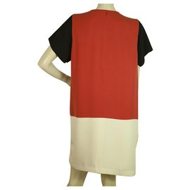 Céline-Celine Silk Red Ecaille Cream Black Short Sleeve Knee Length dress - Sz 44-Multiple colors