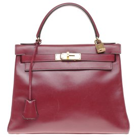 Hermès-hermes kelly 28 Leather Box Red H,  gold-plated metal trim in very good condition!-Dark red