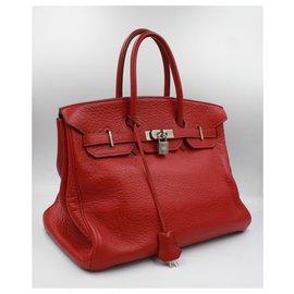 Hermès-Hermès Handbag Birkin Rouge 35cm-Red