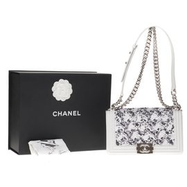 Chanel-Limited series - Superb Chanel Boy old medium in white leather and white and gray glitter-White,Grey