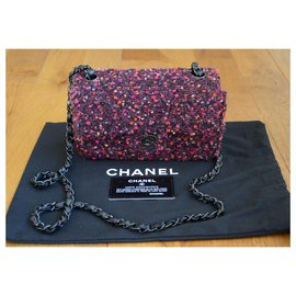 Chanel-Sac Chanel Tweed Classic Mini Flap Bag en tweed-Noir,Rose,Blanc,Rouge