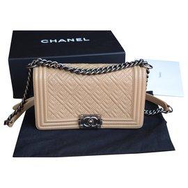 Chanel-Chanel BOY Bag Medium-Silvery,Beige