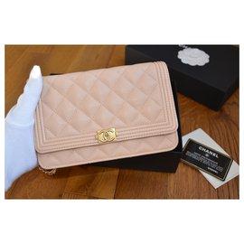 Chanel-Chanel WOC Wallet on Chain Boy bag in beige caviar leather-Silvery,Beige,Golden