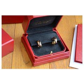 Cartier-Boucles d'oreilles Cartier Trinity en or blanc, or jaune et or rose-Doré