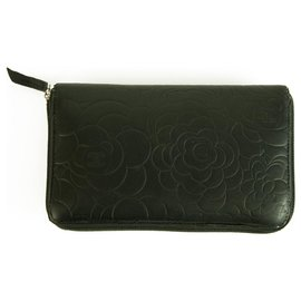 Chanel-CHANEL Lambskin Camellia Embossed Large Zip Around Gusset Wallet Black Leather Wallet-Black