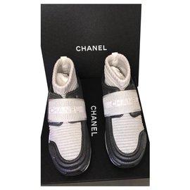 Chanel-Chanel sock sneakers-Silvery,Grey,Dark grey