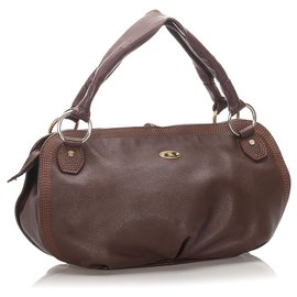 Céline-Celine Brown Leather Bittersweet Hobo-Brown,Dark brown