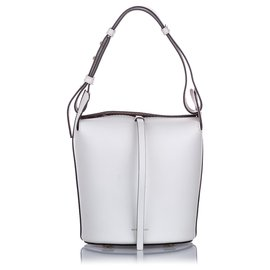 Burberry-Burberry White Small Leather Bucket Bag-White