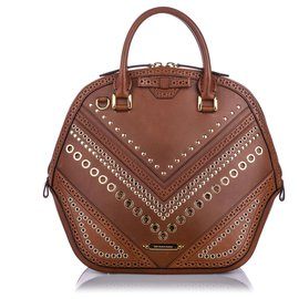 Burberry-Burberry Brown Grommet Orchard Leather Satchel-Brown