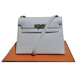 Hermès-Hermès Mini Kelly handbag White leather Ghw 20 cm-White