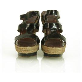 Christian Louboutin-CHRISTIAN LOUBOUTIN Black Patent Leather Strappy Espadrille 140 Wedges Size 37-Black