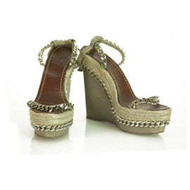 Christian Louboutin-CHRISTIAN LOUBOUTIN Taupe Leather Braided Chain Espadrille 140 Wedges Size 37-Taupe