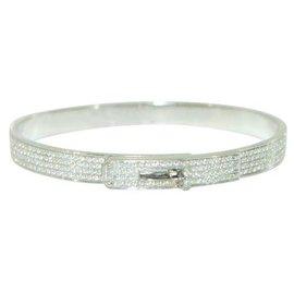 Hermès-Bracelet Hermes Kelly en or blanc et diamant pavé-Autre