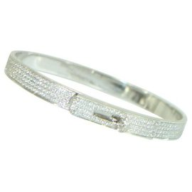 Hermès-Hermes Kelly bracelet in white gold and full pave diamond-Other