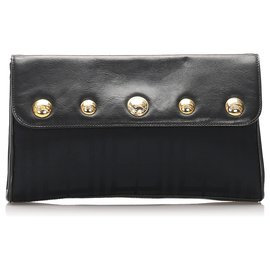 Burberry-Burberry Black Leather Clutch Bag-Black,Golden