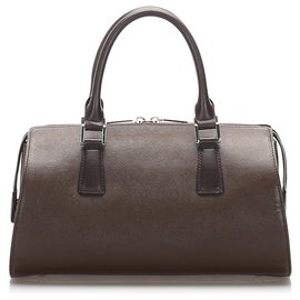 Burberry-Burberry Brown Leather Handbag-Brown,Dark brown