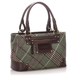 Burberry-Burberry Green Plaid Wool Handbag-Brown,Green