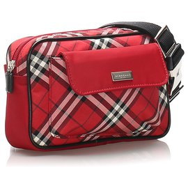 Burberry-Burberry Red Plaid Canvas Belt Bag-Red