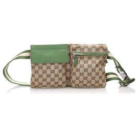 Gucci-Gucci Brown GG Sac de ceinture en toile-Marron,Vert