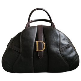 Christian Dior-Bowler saddle bag-Chocolate