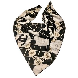 Chanel-CHANEL scarf with camellias-Other
