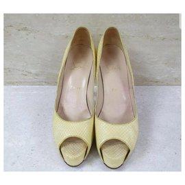 Christian Louboutin-Christian Louboutin Yellow Python Leather Open Toe Heels Shoes Sz.39-Yellow