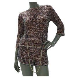 Chanel-Chanel Knit  Chain Shorts Suit Sz 36-Multiple colors