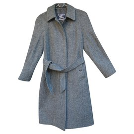 Burberry-vintage Burberry woman coat in Harris Tweed t 36 new condition-Grey
