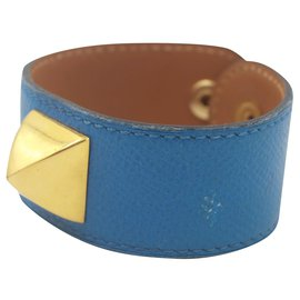 Hermès-Bracelet en cuir bleu Hermès-Bleu