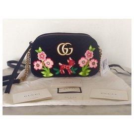 Gucci-GUCCI SAC MARMONT SMALL VELOURS NOIR EDITION LIMITEE NEUF-Multicolore
